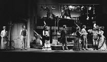 ON THE RAZZLE by Tom Stoppard adapted from Johann Nestroy design: Carl Toms lighting: Robert Bryan director: Peter Wood <br> left: Felicity Kendal (Christopher), Ray Brooks (Weinberl) right: Dinsdale...