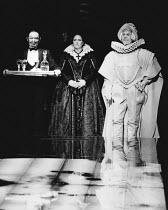 MAN AND SUPERMAN by Bernard Shaw set design: Ralph Koltai costumes: David Walker lighting: Joe Davis director: Christopher Morahan <br> l-r: Michael Bryant (The Devil), Penelope Wilton (Dona Ana), Bas...