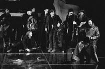 MAN AND SUPERMAN by Bernard Shaw set design: Ralph Koltai costumes: David Walker lighting: Joe Davis director: Christopher Morahan <br> right: Daniel Massey (John Tanner) with Brigands Olivier Theatre...