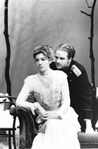 THREE SISTERS by Anton Chekhov design & lighting: Giorgi Meskhishvili director: Robert Sturua <br> Jemma Redgrave (Irina), Adrian Rawlins (Solyony) Queen's Theatre, London W1 11/12/1990 (c) Donald Co...