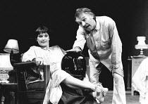 TAKING STEPS by Alan Ayckbourn set design: Alan Tagg costumes: Lindy Hemming director: Michael Rudman <br>Nicola Pagett (Elizabeth), Dinsdale Landen (Roland)Lyric Theatre, London W1 02/09/1980 (c) Don...