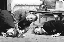 TAKING STEPS by Alan Ayckbourn set design: Alan Tagg costumes: Lindy Hemming director: Michael Rudman <br>l-r: Michael Maloney (Tristram), Dinsdale Landen (Roland), Richard Kane (Leslie)Lyric Theatre,...