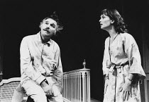 TAKING STEPS by Alan Ayckbourn set design: Alan Tagg costumes: Lindy Hemming director: Michael Rudman <br>~Dinsdale Landen (Roland), Nicola Pagett (Elizabeth) Lyric Theatre, London W1 02/09/1980 (c) D...