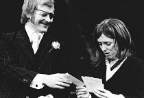 A TASTE OF HONEY by Shelagh Delaney design: Charles Dunlop director: Pam Brighton <br> Michael Byrne (Peter), Jane Wood (Jo)  The Young Vic, London SE1 13/02/1973  (c) Donald Cooper/Photostage phot...