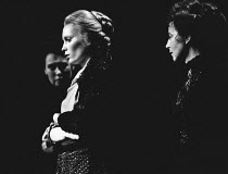 THREE SISTERS by Chekhov set design: Roger Butlin costumes: Daphne Dare director: Robin Phillips <br> l-r: Joy Parker (Olga), Mia Farrow (Irina), Gwen Watford (Masha) Greenwich Theatre, London SE10 25...