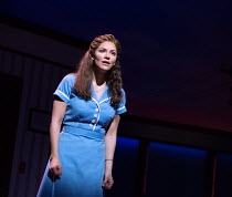 Katharine McPhee (Jenna) in WAITRESS music & lyrics: Sara Bareilles book: Jessie Nelson set design: Scott Pask costumes: Suttirat Anne Larlarb wigs & make-up: Richard Mawbey lighting: Ken Billington c...