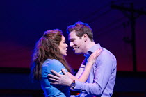 Katharine McPhee (Jenna), David Hunter (Dr. Pomatter) in WAITRESS music & lyrics: Sara Bareilles book: Jessie Nelson set design: Scott Pask costumes: Suttirat Anne Larlarb wigs & make-up: Richard Mawb...