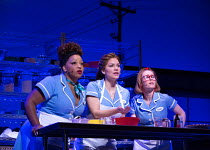 l-r: Marisha Wallace (Becky), Katharine McPhee (Jenna), Laura Baldwin (Dawn) in WAITRESS music & lyrics: Sara Bareilles book: Jessie Nelson set design: Scott Pask costumes: Suttirat Anne Larlarb wigs...