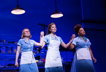 l-r: Laura Baldwin (Dawn), Katharine McPhee (Jenna), Marisha Wallace (Becky) in WAITRESS music & lyrics: Sara Bareilles book: Jessie Nelson set design: Scott Pask costumes: Suttirat Anne Larlarb wigs...