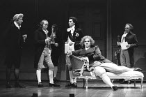 THE MADNESS OF GEORGE III by Alan Bennett design: Mark Thompson lighting: Paul Pyant director: Nicholas Hytner <br> front, l-r: James Villiers (Lord Thurlow), Iain Mitchell (Richard Brinsley Sheridan)...