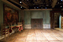 THE BAY AT NICE by David Hare design: Fotini Dimou lighting: Paul Pyant director: Richard Eyre <br> set (detail), interior art gallery painting Menier Chocolate Factory, London SE1 19/03/2019 (c) Dona...