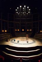 EMILIA by Morgan Lloyd Malcolm composer: Luisa Gerstein design: Joanna Scotcher lighting: Zoe Spurr movement: Anna Morrissey director: Nicole Charles <br> stage set lights seats a Shakespeare's Glob...