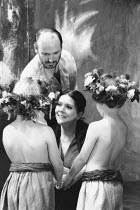 MEDEA by Euripedes in a new version by Alistair Elliot design: Peter J Davison director: Jonathan Kent <br> Tim Woodward (Jason), Diana Rigg (Medea) with their sons Almeida Theatre, London N1 16/09/...