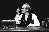 KRAPP'S LAST TAPE by Samuel Beckett director: Patrick Magee <br> Max Wall (Krapp) Greenwich Theatre, London SE10 03/12/1975 (c) Donald Cooper/Photostage photos@photostage.co.uk ref/BW-P-267-10a