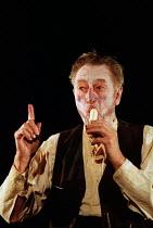 KRAPP'S LAST TAPE by Samuel Beckett set & lighting design: Wolfgang Gobbel costumes: Antony McDonald director: Martin Duncan <br>John Neville (Krapp) Nottingham Playhouse, Nottingham, England 11/03/19...