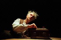 KRAPP'S LAST TAPE by Samuel Beckett design: Anthony Rowe directors: Edward Petherbridge & David Hunt <br>Edward Petherbridge (Krapp) a Royal Shakespeare Company (RSC) production / Arts Theatre, London...