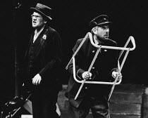 WAITING FOR GODOT by Samuel Beckett design: Bernard Culshaw lighting: Dean Williams director: Ken Campbell <br>~l-r: Andy Rashleigh (Vladimir), Don Crann (Pozzo)~Young Vic, London SE1 15/07/1982 (c) D...