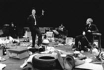 WAITING FOR GODOT by Samuel Beckett design: Bernard Culshaw lighting: Dean Williams director: Ken Campbell <br> l-r: Andy Rashleigh (Vladimir), John Sessions (Lucky), Jonathan Barlow (Estragon), Don...