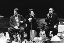 WAITING FOR GODOT by Samuel Beckett design: Bernard Culshaw lighting: Dean Williams director: Ken Campbell <br>~l-r: Jonathan Barlow (Estragon), Andy Rashleigh (Vladimir), Don Crann (Pozzo)~Young Vic,...