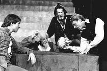 HAMLET by Shakespeare design: Keith Grant director: Terry Palmer <br> l-r: Terence Hillyer (Horatio), Esmond Knight (First Gravedigger), David Dodimead (Second Gravedigger), Edward Fox (Hamlet) with t...
