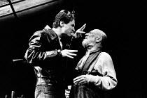 THE CARETAKER written & directed by Harold Pinter set design: Eileen Diss costumes: Dany Everett lighting: Mick Hughes <br> l-r: Peter Howitt (Mick), Donald Pleasence (Davies) Comedy Theatre, London...