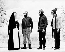 THE GREAT CAPER by Ken Campbell design: Bob Ringwood director: Nicholas Wright <br> Lapland centre for disturbed Laps - l-r: Judith Blake (Nun), Warren Mitchell (Ion Alexis Will), Richard O'Callaghan...