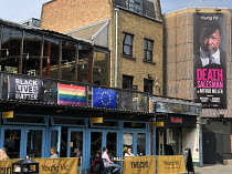 April 2019: exterior of the Young Vic theatre, London SE1 with banners for Black Lives Matter and the new production of Death of a Salesman along with Rainbow & EU flags <br> (c) Donald Cooper/Photos...