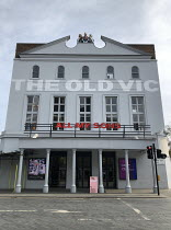April 2019: exterior of the OldVic theatre, London SE1 with neon sign for All My Sons play by Arthur Miller <br> (c) Donald Cooper/Photostage photos@photostage.co.uk ref/7812