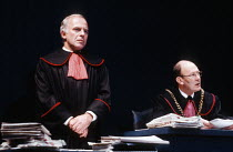 THE DELIBERATE DEATH OF A POLISH PRIEST by Ronald Harwood set design: Eileen Diss costumes: Dany Everett lighting: Dave Horn director: Kevin Billington <br> l-r: John Shrapnel (Prosecutor), Garfield M...