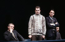 THE DELIBERATE DEATH OF A POLISH PRIEST by Ronald Harwood set design: Eileen Diss costumes: Dany Everett lighting: Dave Horn director: Kevin Billington <br> in the dock, l-r: Derek Newark (Colonel Pie...