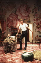 ENTERTAINING MR SLOANE by Joe Orton design: Mark Bailey lighting: Paul Pyant director: Jeremy Sams <br> l-r: Christopher Hancock (Kemp), Ben Daniels (Mr Sloane) Greenwich Theatre, London SE10 15/02/19...