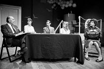 WAS HE ANYONE ? by N.F. Simpson design: Harriet Geddes lightiing: Nick Heppel director: Nicholas Wright <br> l-r: Geoffrey Chater, June Brown, Stanley Lebor, Rowena Cooper, Carol Gillies Theatre Upst...