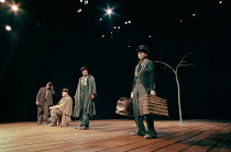 WAITING FOR GODOT by Samuel Beckett design: John Gunter director: Peter Hall <br> l-r: Alan Dobie (Estragon), Terence Rigby (Pozzo), Julian Glover (Vladimir), Struan Rodger (Lucky) Piccadilly Theatre,...