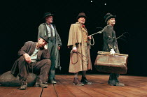 WAITING FOR GODOT by Samuel Beckett design: John Gunter director: Peter Hall <br>l-r: Alan Dobie (Estragon), Julian Glover (Vladimir), Terence Rigby (Pozzo), Struan Rodger (Lucky)Piccadilly Theatre, L...