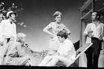 TIME AND TIME AGAIN by Alan Ayckbourn design: Alan Tagg lighting: Mick Hughes director: Eric Thompson <br> l-r: Tom Courtenay (Leonard), Cheryl Kennedy (Joan), Bridget Turner (Anna), Barry Andrews (Pe...
