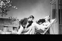 TIME AND TIME AGAIN by Alan Ayckbourn design: Alan Tagg lighting: Mick Hughes director: Eric Thompson <br> Tom Courtenay (Leonard), Cheryl Kennedy (Joan) Comedy Theatre, London SW1 16/08/1972 (c) Dona...
