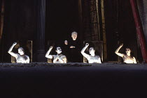 HATED NIGHTFALL written & directed by Howard Barker design: Johan Engels lighting: Ace McCarron <br>centre: Ian McDiarmid (Dancer) with Chorus, l-r: Philip Barnes, Raymond Sawyer, Keith Osborn, James...