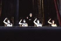 HATED NIGHTFALL written & directed by Howard Barker design: Johan Engels lighting: Ace McCarron <br> centre: Ian McDiarmid (Dancer) with Chorus, l-r: Philip Barnes, Raymond Sawyer, Keith Osborn, James...