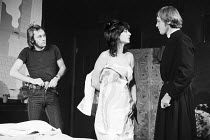 NO ONE WAS SAVED by Howard Barker director: Pamela Brighton <br> l-r: Mike D'Abo (John Lennon), Maureen Lipman (Eleanor Rigby), Peter Sproule (Father MacKenzie) Theatre Upstairs, Royal Court Theatre,...
