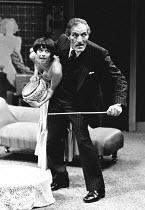 BLACK COMEDY by Peter Shaffer design: Dee Greenwood lighting: Steve Kemp director: Paul Giovanni <br>Gemma Craven (Carol Melkett), Neil McCarthy (Colonel Melkett)Shaw Theatre, London NW1 28/06/1976 (c...
