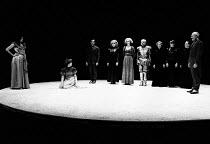 HEDDA adapted by Charles Marowitz from 'Hedda Gabler' by Henrik Ibsen design: Timian Alsaker director: Charles Marowitz <br> left, kneeling: Jenny Agutter (Hedda Gabler) far right: Denis Holmes (Judge...