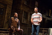 KING HEDLEY II by August Wilson design: Peter McKintosh lighting: Howard Harrison director: Nadia Fall <br> l-r: Lenny Henry (Elmore), Aaron Pierre (King Hedley) Theatre Royal Stratford East, London E...