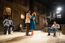 KING HEDLEY II by August Wilson design: Peter McKintosh lighting: Howard Harrison director: Nadia Fall <br> l-r: Dexter Flanders (Mister), Lenny Henry (Elmore), Martina Laird (Ruby), (rear) Leo Wringe...