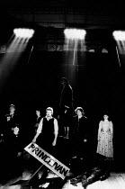 THE POSSESSED by Fyodor Dostoyevsky design: Stefanos Lazaridis director: Yuri Lyubimov <br> left: : Gillian Barge (Mrs Stavrogin), John Dicks (Liputin) centre: Harriet Walter (Maria / Mrs Shatov / Na...