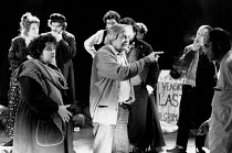 THE POSSESSED by Fyodor Dostoyevsky design: Stefanos Lazaridis director: Yuri Lyubimov <br> centre: Yuri Lyubimov rehearsing on stage with members of the cast Almeida Theatre, London N1 21/03/1985 (c)...
