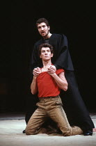CORIOLANUS by Shakespeare design & lighting: John Bury fights: Malcolm Ranson music: Harrison Birtwistle director: Peter Hall <br> Ian McKellen (Coriolanus), Greg Hicks (Tullus Aufidius) Olivier Theat...