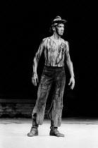 CORIOLANUS by Shakespeare design & lighting: John Bury fights: Malcolm Ranson music: Harrison Birtwistle director: Peter Hall <br> Ian McKellen (Coriolanus) Olivier Theatre, National Theatre (NT), Lon...