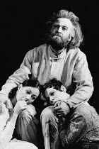 LEAR by Edward Bond after Shakespeare's 'King Lear' design: Kit Surrey lighting: Leo Leibovici fights: Malcolm Ranson director: Barry Kyle <br> l-r: Jenny Agutter (Fontanelle), Bob Peck (Lear), Sara K...