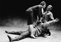 LEAR by Edward Bond after Shakespeare's 'King Lear' design: Kit Surrey lighting: Leo Leibovici fights: Malcolm Ranson director: Barry Kyle <br> l-r: Sara Kestelman (Bodice), David Glover, Pete Postlet...