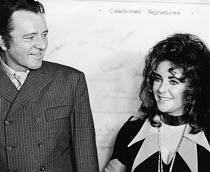 Richard Burton and Elizabeth Taylor photographed at CINEMA CITY at the Roundhouse, London NW1 October 1970 <br> (c) Donald Cooper/Photostage photos@photostage.co.uk ref/BW-P-100A-12
